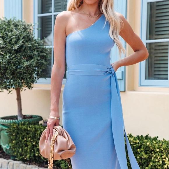 Periwinkle Midi One Shoulder Dress